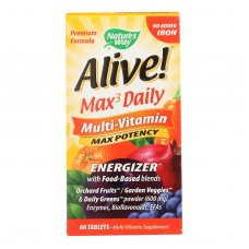 Natures Way - Alive! Max3 Daily Multi-vitamin - Max Potency - No Iron Added - 60 Tablets