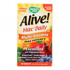 Natures Way - Alive! Max3 Daily Multi-vitamin - Max Potency - No Iron Added - 90 Tablets