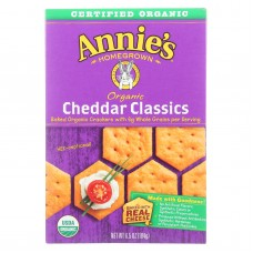 Annies Homegrown Organic Cheddar Classic Crackers - Case Of 12 - 6.5 Oz.