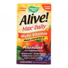 Natures Way - Alive! Max6 Daily Multi-vitamin - Max Potency - No Iron Added - 90 Veg Capsules