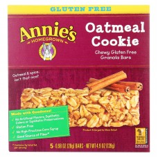 Annies Homegrown Chewy Gluten Free Granola Bars Oatmeal Cookies - Case Of 12 - 4.9 Oz.